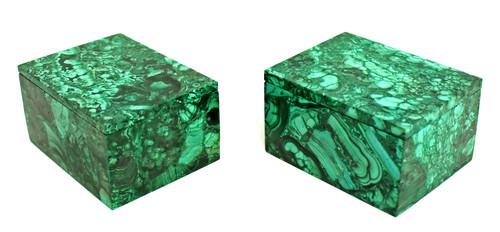 Pair Natural Malachite Boxes