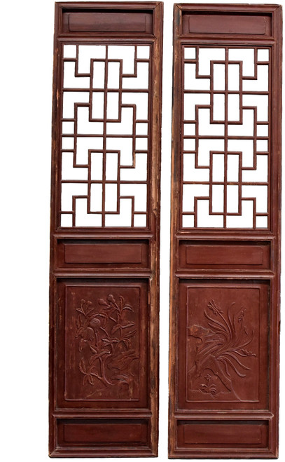 Pair Chinese Antique Screens, Orchids and Pomegranates