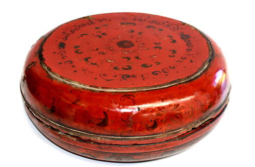antique chinese red lacquered round box