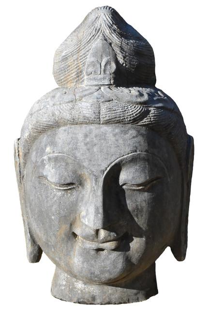 a solid stone head of buddha, qing dynasty