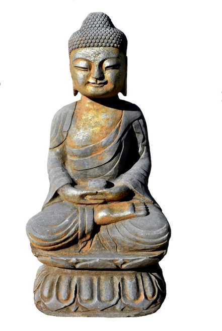 gilt buddha statue with pearl