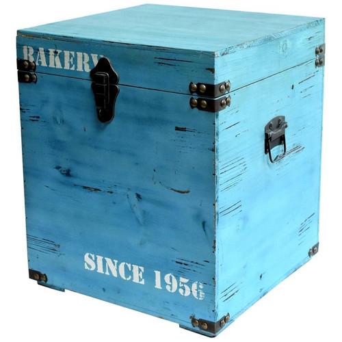 wood cube box bakery turquoise