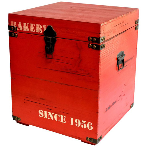 wood cube box bakery red