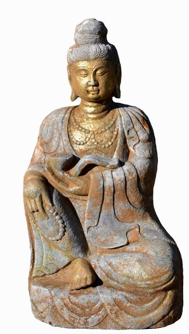 Gilded Stone Buddha with Ru Yi Tang Style