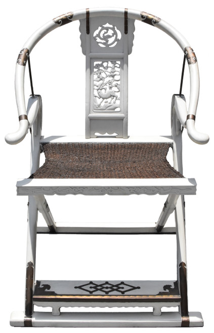 White Horseshoe Folding Chair