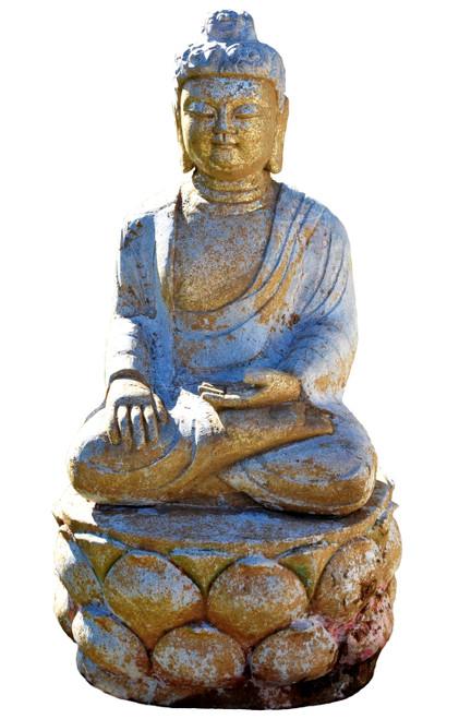 Gilded Stone Buddha on Lotus