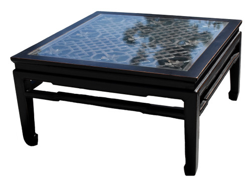 Black Asian Coffee Table with Antique Screen
