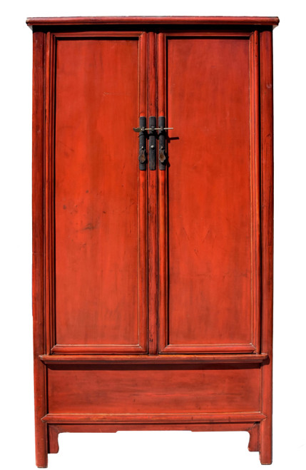 Chinese Antique Red Round Corner Cabinet
