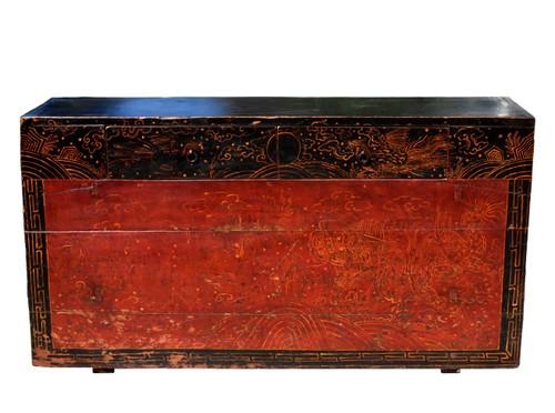 Antique Mongolian Chest Table, Hand Painted Dragon Phoenix