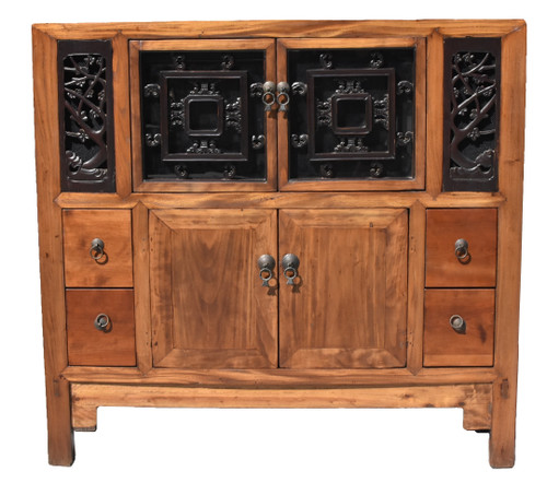 Asian Book Cabinet with Carved Screens