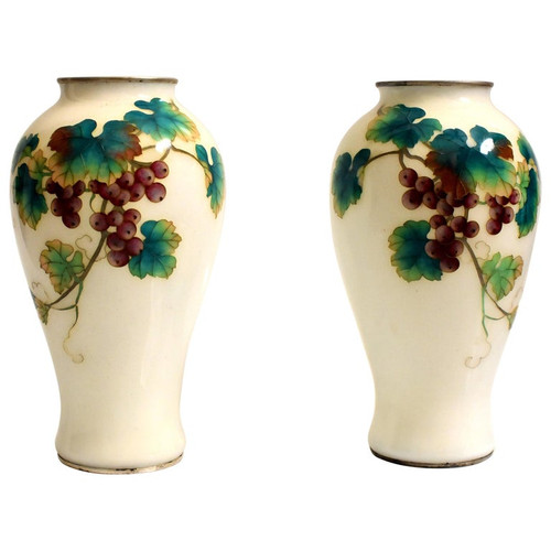 Pair Ando Jubei Cloisonne Vases, Grapes