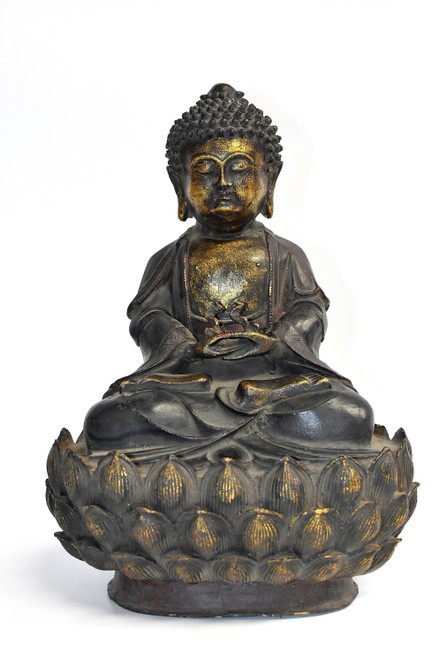 Antique Bronze Buddha on Lotus Throne