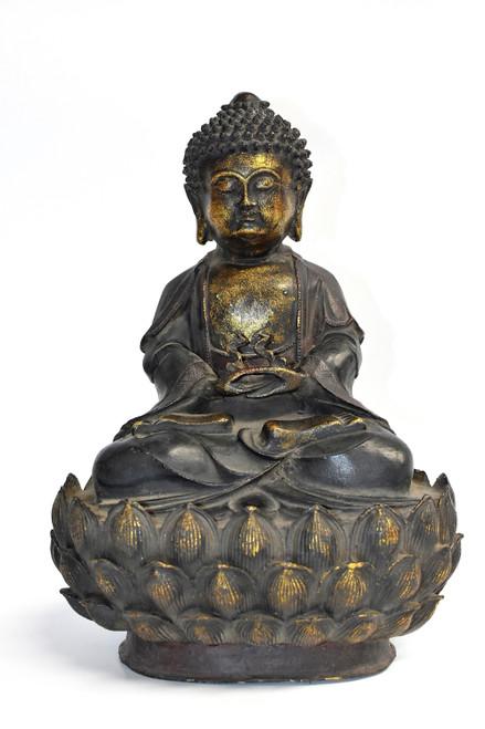 Antique Bronze Buddha on Lotus Throne