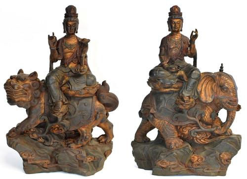 Important Pair Polychrome Buddha Statue