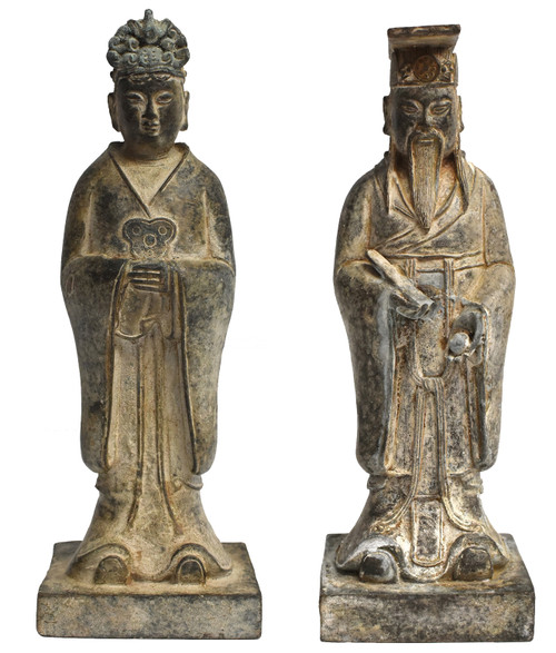 Pair Antique Bronze Officials
