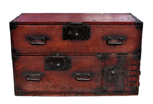 Antique Japanese Low Tansu with Iron Pulls
