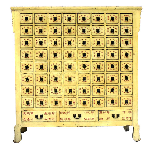 Rare Yellow Antique Apothecary Cabinet 67 Drawers