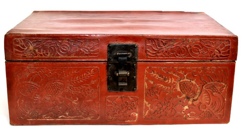 Red Leather Chinese Trunk