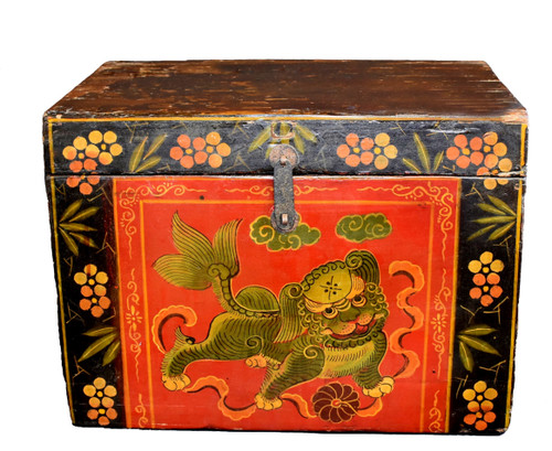 Tibetan Hand Painted Foo Dog Box 5