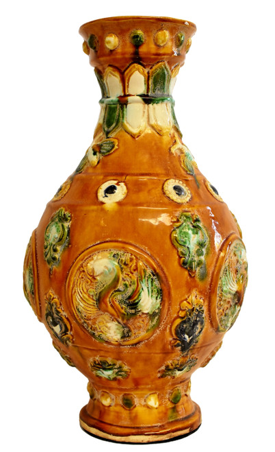 Chinese Pottery San Cai Vase with Bees