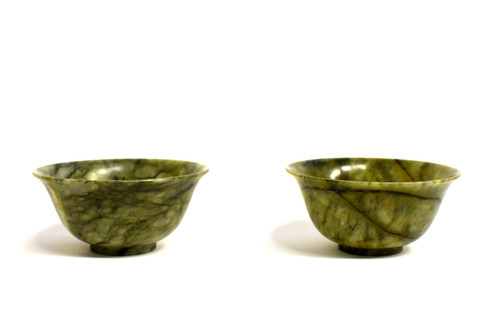 Pair Serpentine Bowls Heaven and Earth