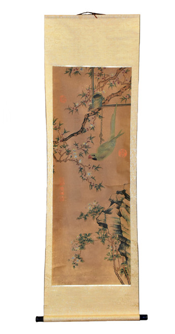 Chinese Painting Green Parrot Amid Pear Blossoms