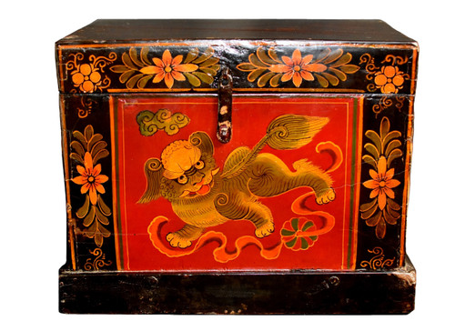 Tibetan Hand Painted Foo Dog Box 8