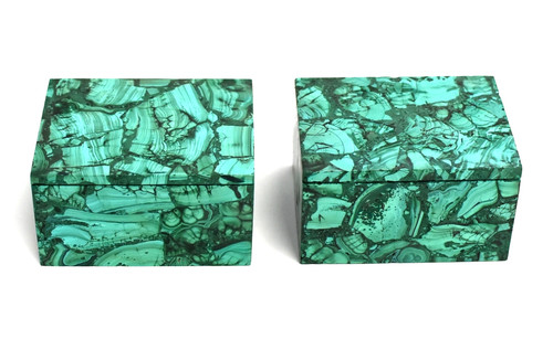 Pair Natural Malachite Boxes In Full Slabs