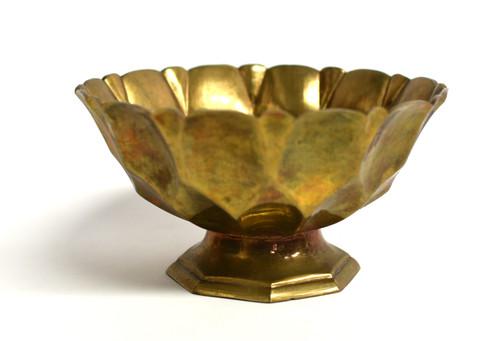 Tibetan Brass Lotus Offering Bowl