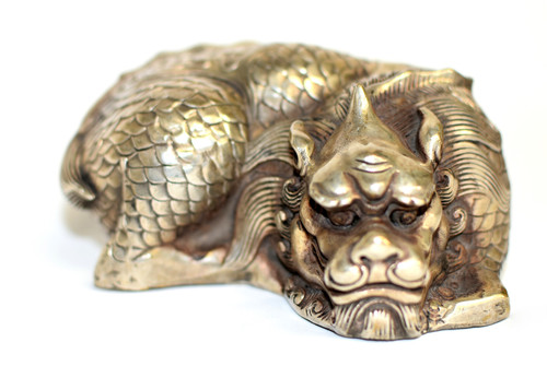 Silver Bronze Coiled Dragon Statue Paperweight