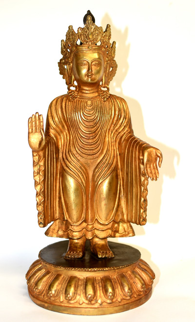 Gilt Bronze No Fear Tibetan Buddha