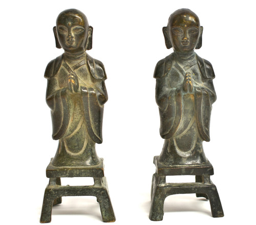 Pair Antique Bronze Monks