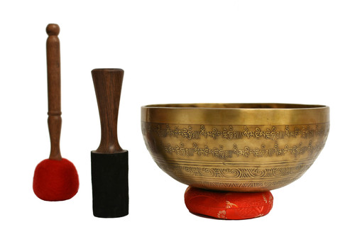 "Tibetan Singing Bowl 9.5"" Fully Embossed"