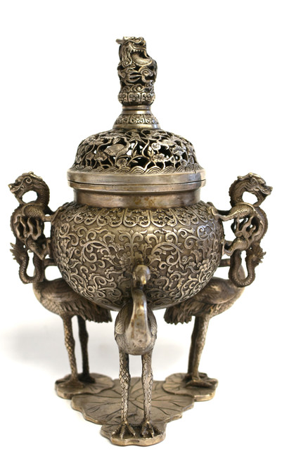 Qing Silver Bronze Censer with Egrets