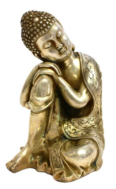 Silver Bronze Contemplative Buddha