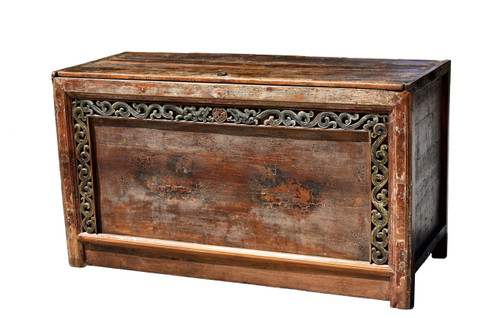 18th Century Mongolian Chest with Painted Foo Dogs