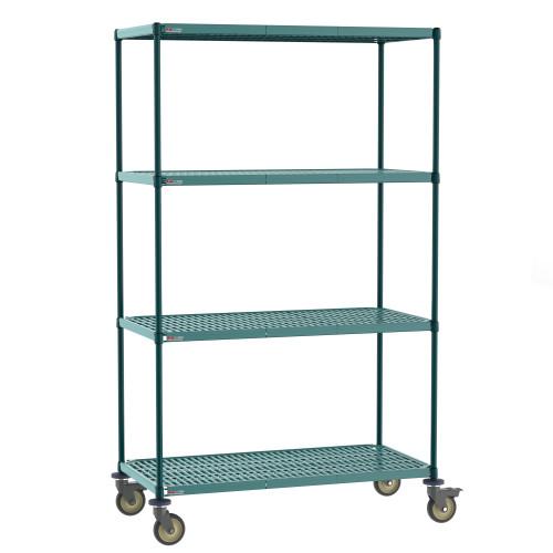 Metro Super Erecta Pro Industrial Wire 4-Shelf Restaurant Shelving Stem Caster Cart with Removable Plastic Mats