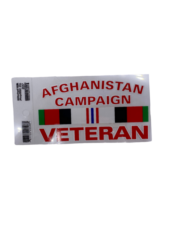 Afghan Campaign Vet Decal W/ Ribbon