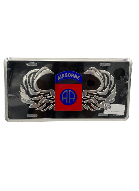 82nd Airborne Licence Plate Front