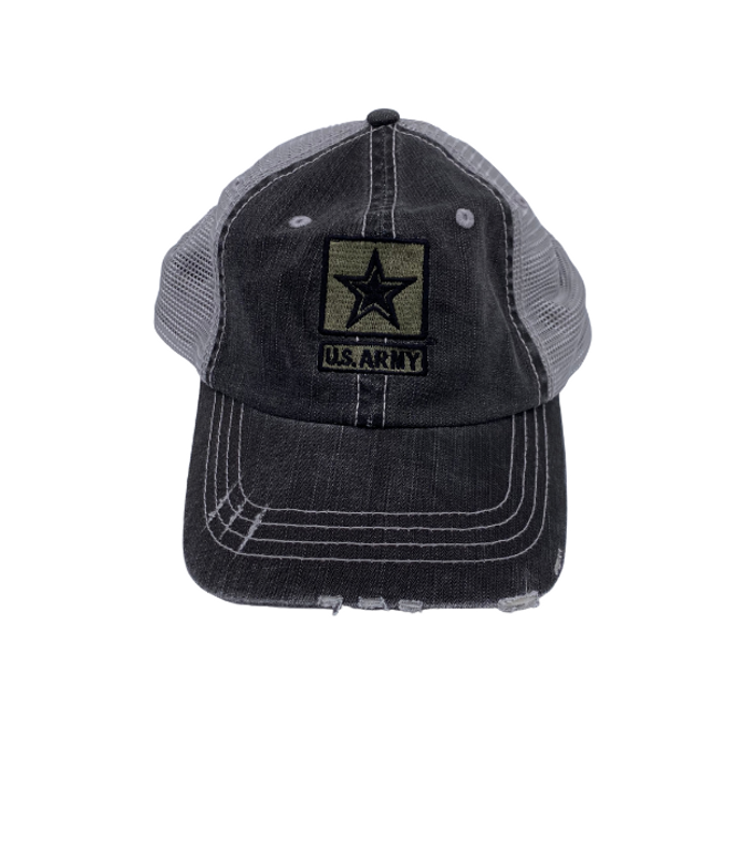 Army Star Black Mesh Hat