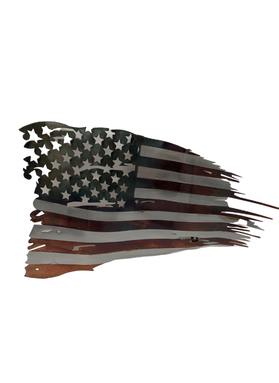Small American Tattered Metal Flag