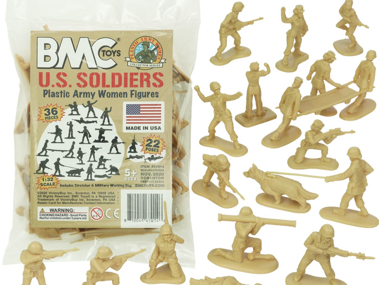 FEMALE TOY SOLDIER FIGURES 36pc- TAN