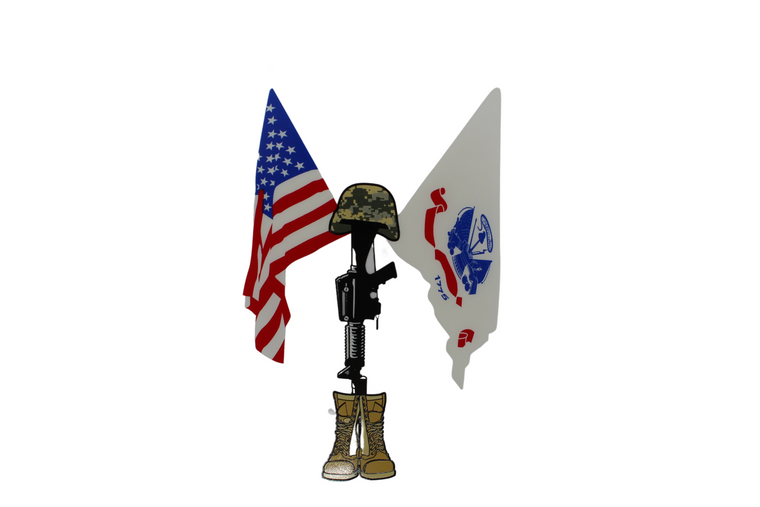 Fallen Soldier w/ American - Army Crossed Flag Decal