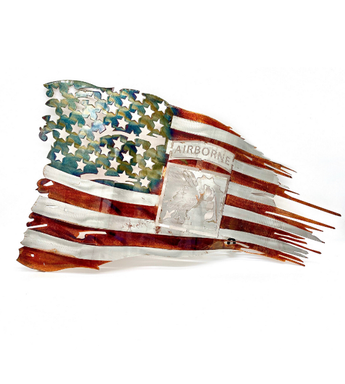 18th  Abn Corps Tattered Metal Flag