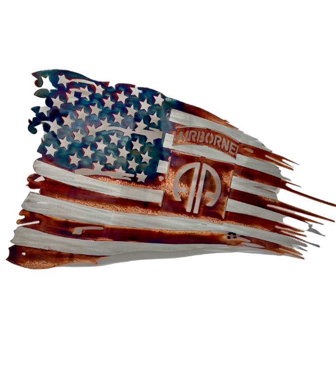 82nd Tattered Metal Flag