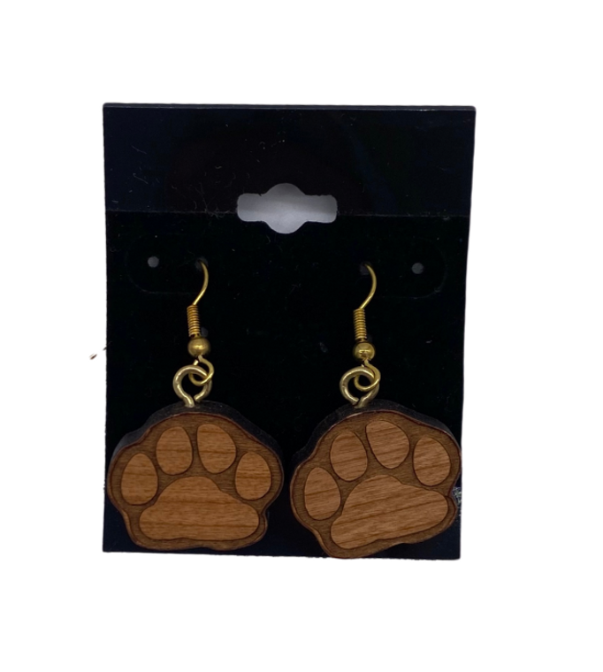 Wood Paw Earring