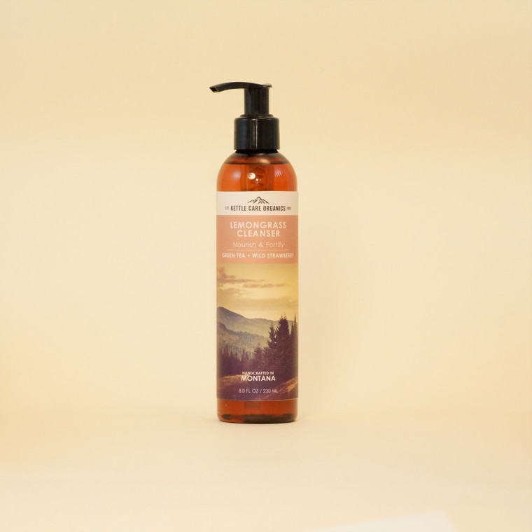 Lemongrass Cleanser with Green Tea + Wild Strawberry/Antioxidant, 8 oz, this uplifting Cleanser swiftly removes all the day's dirt and oils