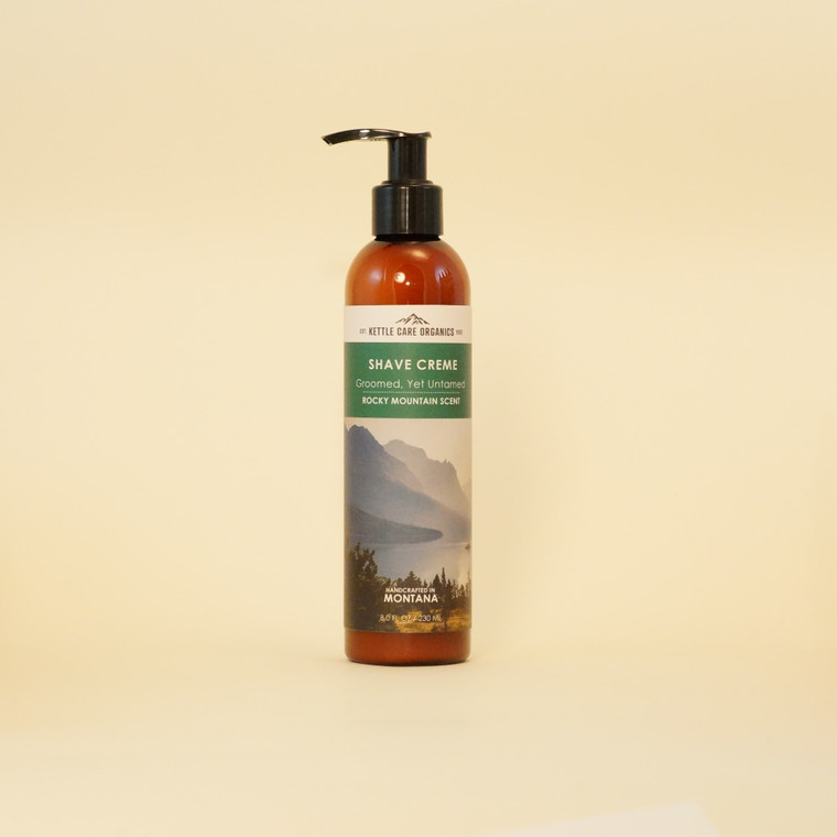 Shave Creme - Rocky Mountain Scent, Handcrafted in Montana, 8 fl oz, amber bottle with pump, green label