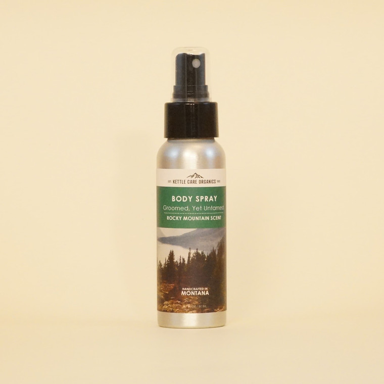 Body Spray - Rocky Mountain Scent, Handcrafted in Montana, 2.7 fl oz, amber spray bottle with green label