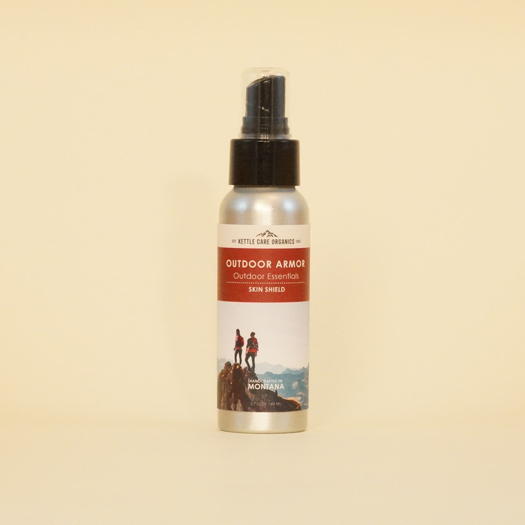 Outdoor Armour Skin Shield, Handcrafted in Montana, 2.7 fl oz, aluminum spray bottle with red label